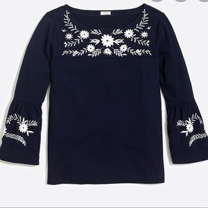 J. Crew Embroidered Bell Sleeved Navy Tunic XL